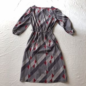 Vintage dress 1970's striped gray and red Medium